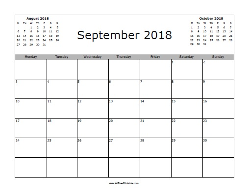 Free Printable September 2018 Calendar