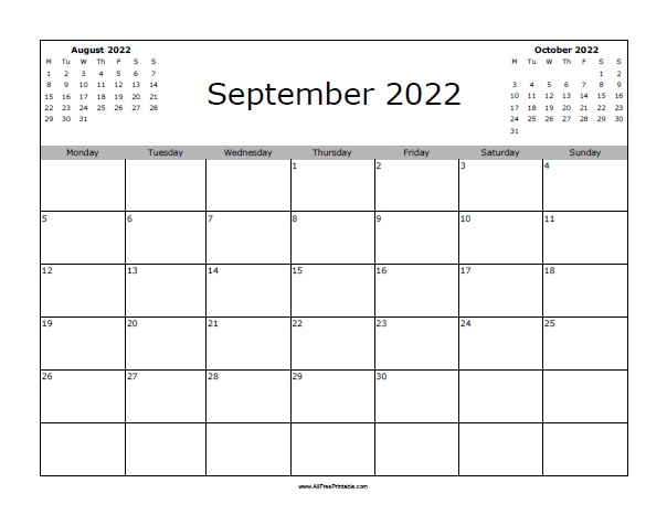 photograph about 2022 Calendar Printable called September 2022 Calendar - Free of charge Printable -