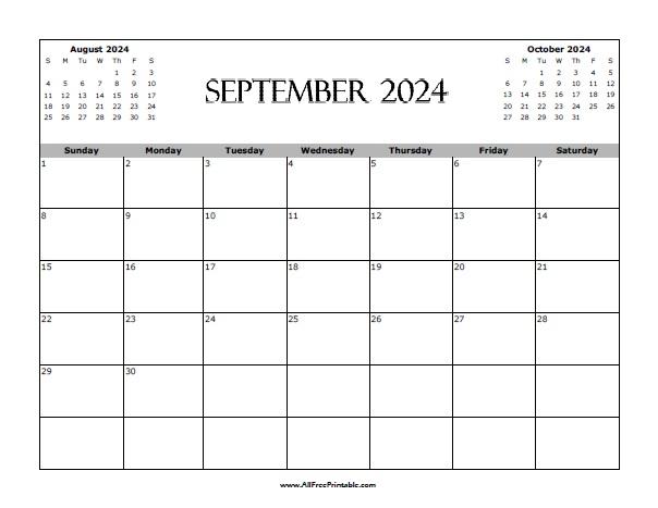 Free Printable September 2024 Calendar
