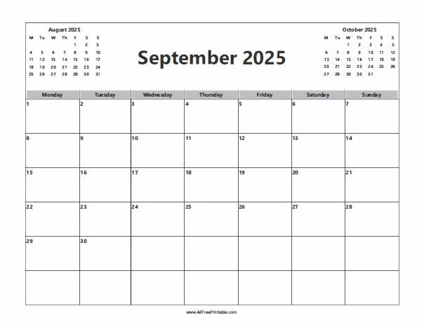 Free Printable September 2025 Calendar