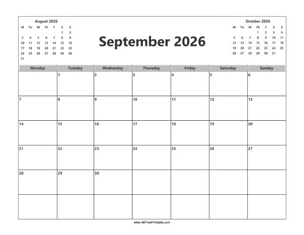 Free Printable September 2026 Calendar