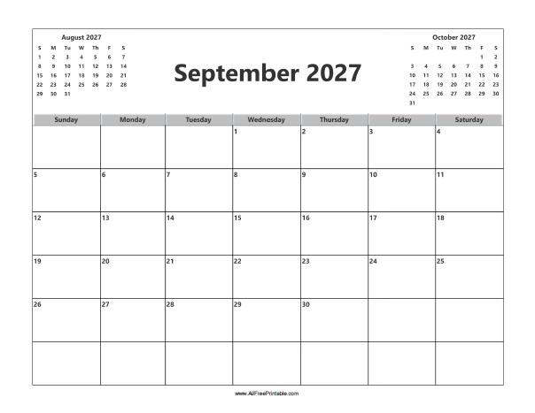Free Printable September 2027 Calendar