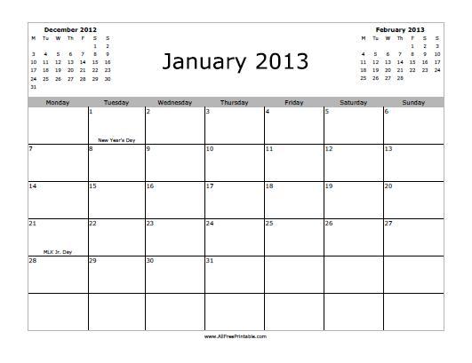Free Printable January 2013 Calendar