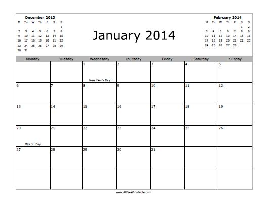 Free Printable January 2014 Calendar