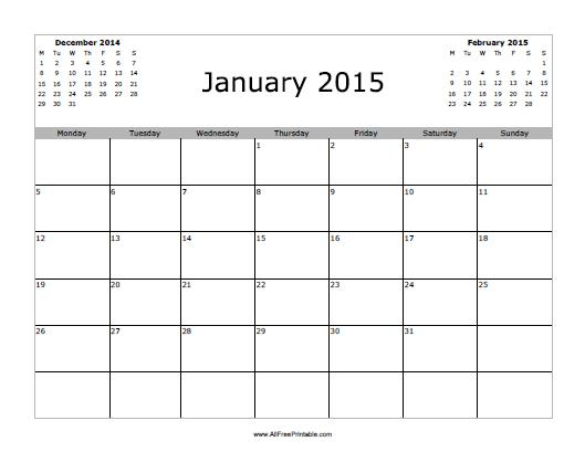 Printable 2015 January New Calendar Template Site