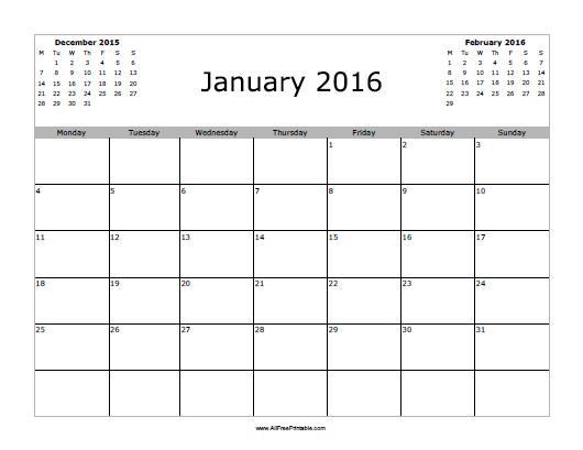 January 2016 Calendar - Free Printable - AllFreePrintable.com