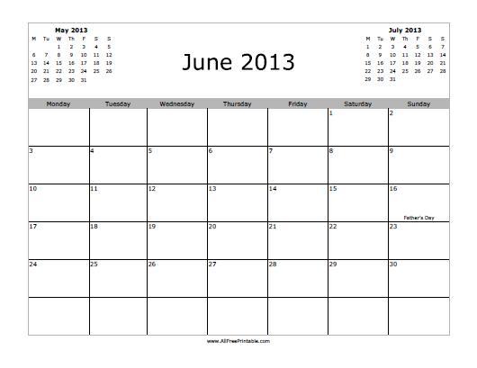 Free Printable June 2013 Calendar