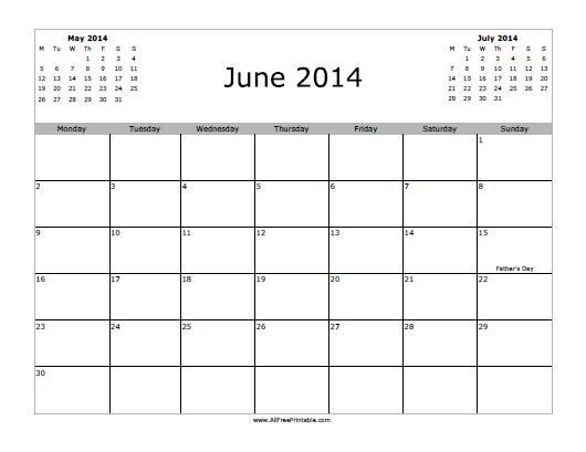 Free Printable June 2014 Calendar