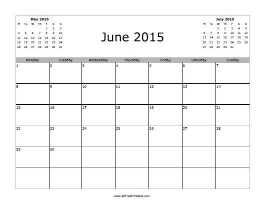 Free Printable June 2015 Calendar