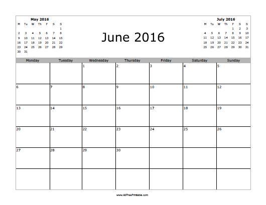 Free Printable June 2016 Calendar