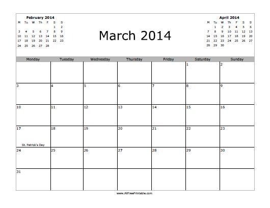 Free Printable March 2014 Calendar