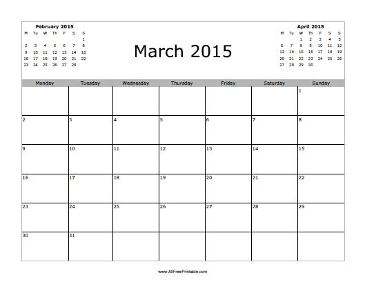 March 2015 calendar free printable for Free downloadable 2015 calendar template