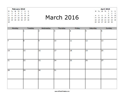 Free Printable March 2016 Calendar