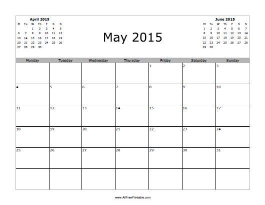 Free Printable May 2015 Calendar