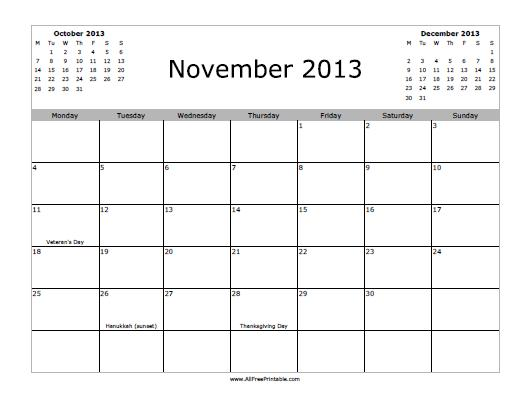 November 2013 Calendar Free Printable Allfreeprintable