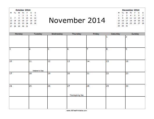 Free Printable November 2014 Calendar