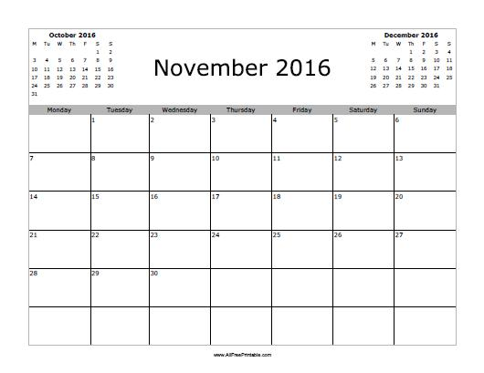 November 2016 Calendar - Free Printable - AllFreePrintable.com