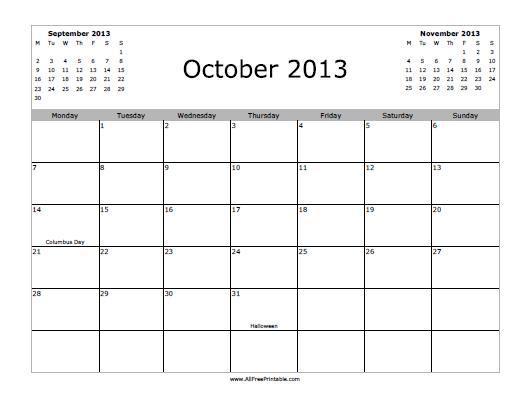 Free Printable October 2013 Calendar