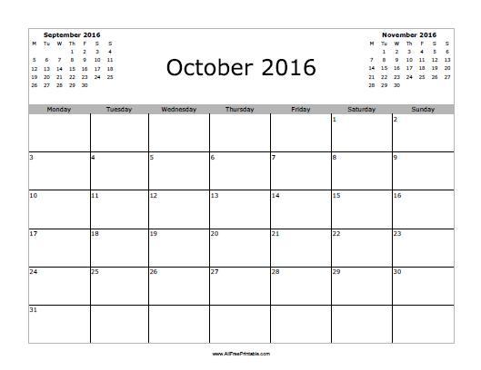 Free Printable October 2016 Calendar