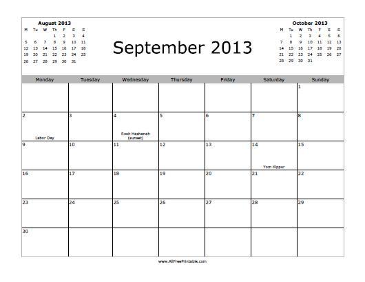 September 2013: September 2013 Calendar