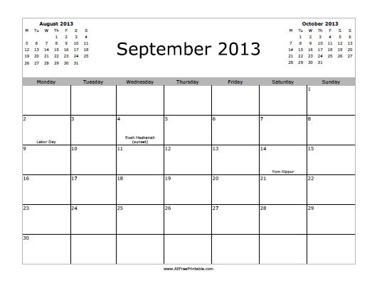 Free Printable September 2013 Calendar