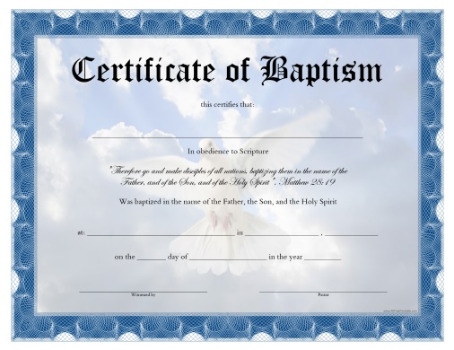 Beautiful Free Printable Baptism Certificate To Certificates Free Download Free Printable