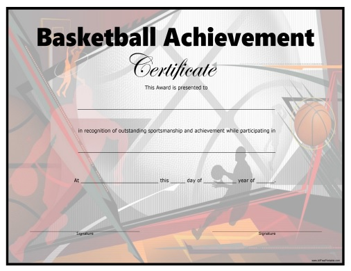 Basketball certificate free printable for Basketball mvp certificate template