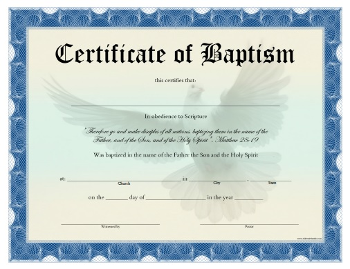 Certificate of baptism free printable for Free water baptism certificate template