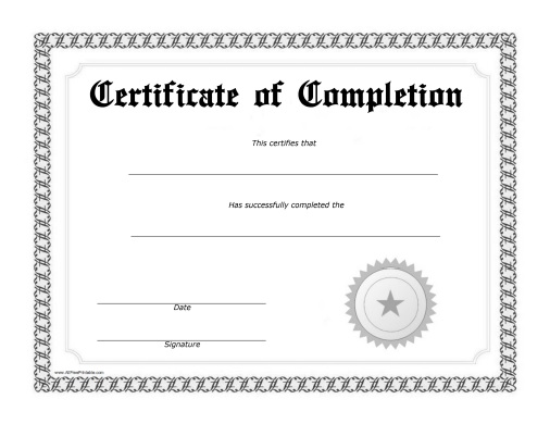 photo regarding Free Printable Certificate of Completion named Certification of Completion - Cost-free Printable