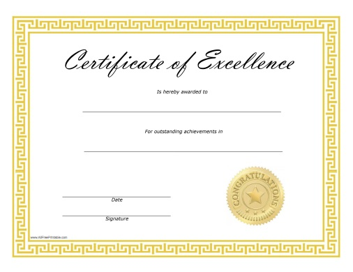 Certificate Of Excellence - Free Printable - Allfreeprintable.Com