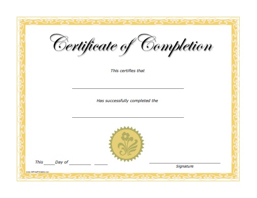 Free Printable Completion Certificate  Certificates Free Download Free Printable