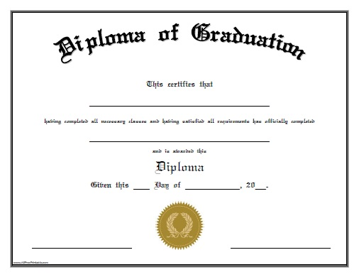 Diploma of graduation free printable for Free fake high school diploma templates
