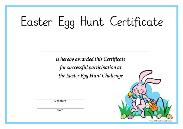 Easter egg hunt certificate free printable allfreeprintable free printable easter egg hunt certificate negle Choice Image