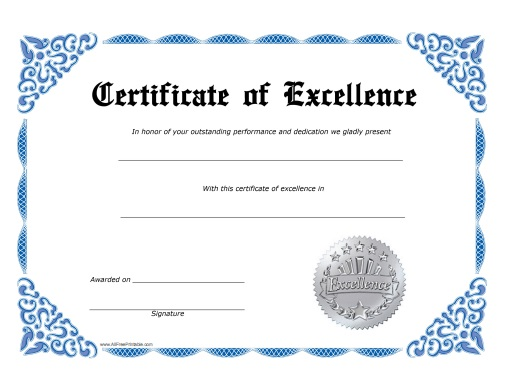 Excellence certificate free printable for Certificate of excellence template