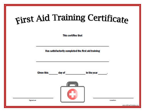 First Aid Training Certificate Free Printable AllFreePrintable – First Aid Certificate Template