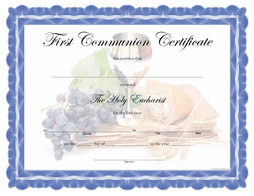 photograph about Printable First Communion Cards identified as To start with Communion Certification - Totally free Printable
