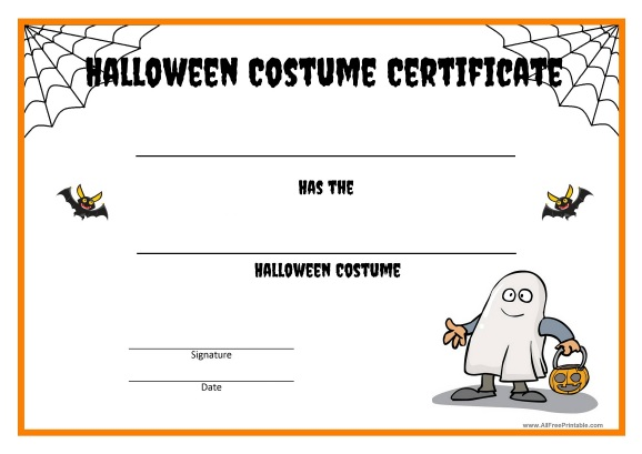 Free Printable Halloween Costume Certificate