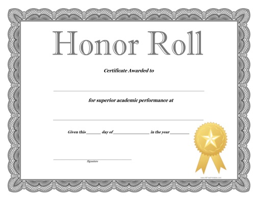 Honor roll certificate free printable for A b honor roll certificate template