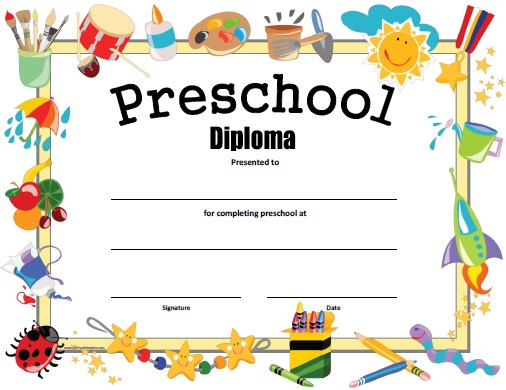 graphic relating to Printable Graduation Certificate identify Preschool Degree - Cost-free Printable -