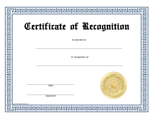 Free Printable Recognition Certificate