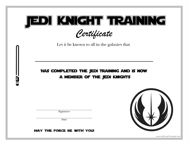 Free Printable Star Wars Jedi Knight Certificate