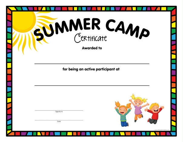 Free Printable Summer Camp Certificate