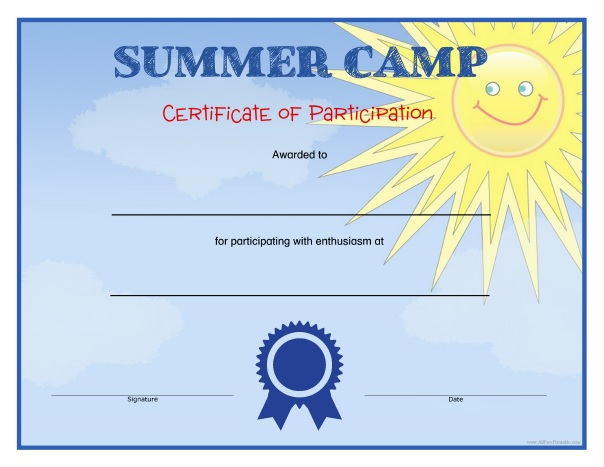 Free Printable Summer Camp Certificates