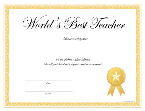 Free Printable World's Best Teacher Certificate