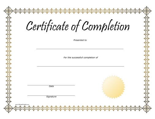 Free Printable Completion Award Certificate