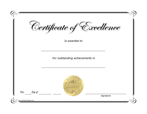Excellence Award Certificate - Free Printable - AllFreePrintable.com