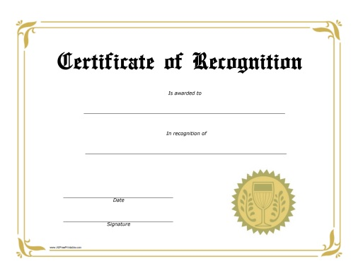 Recognition Award Certificate Free Printable AllFreePrintable – Printable Certificate of Recognition