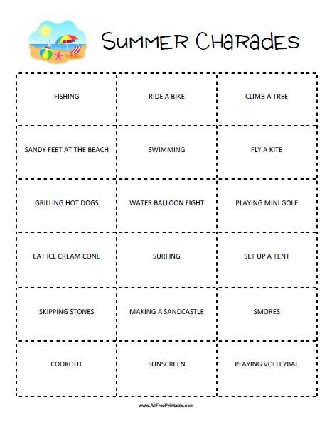 Free Printable Summer Charades Game