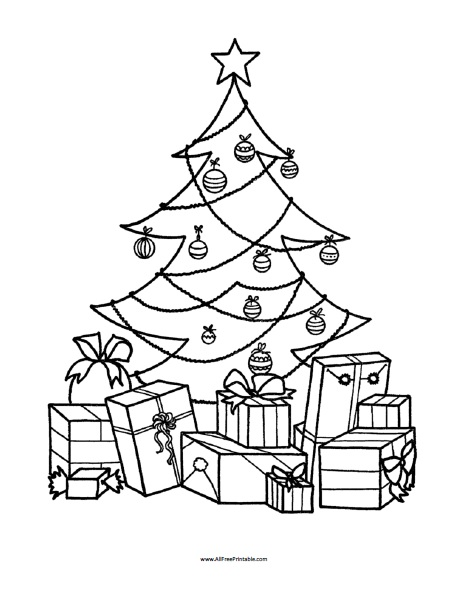 Presents Under Tree Free S For Christmas F929 Coloring Pages Printable | 604x467