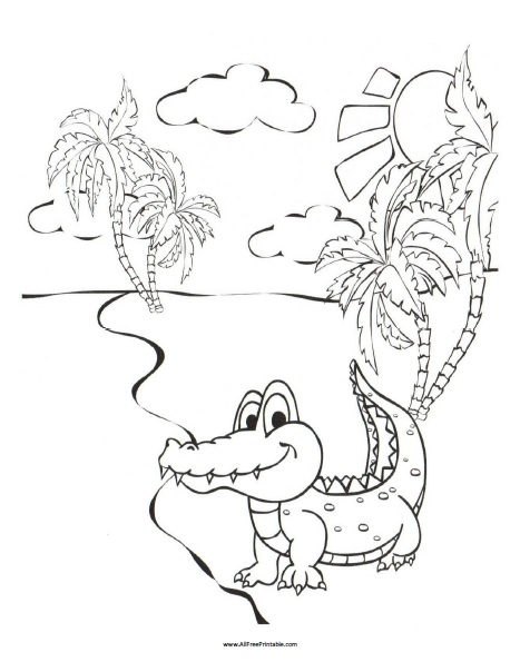Free Printable Crocodile Coloring Page